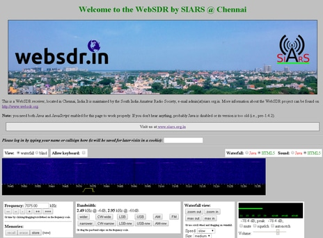 websdr | South India Amateur Radio Society